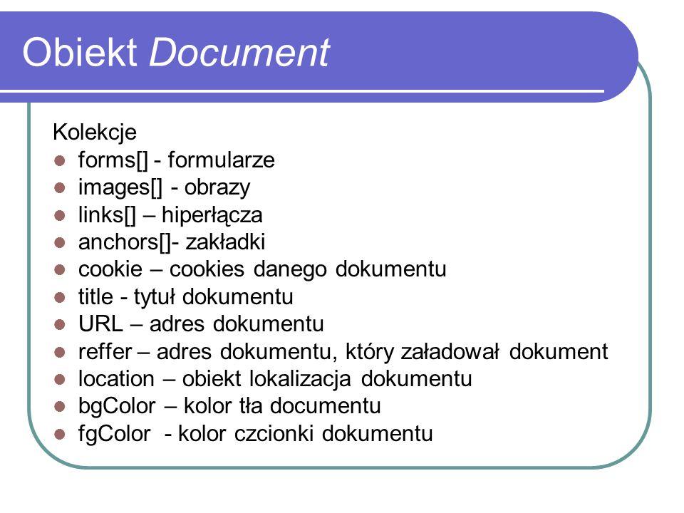 Obiekt Document Kolekcje forms[] - formularze images[] - obrazy